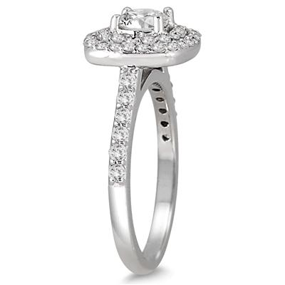 1 1/3 Carat TW Diamond Double Halo Engagement Ring in 14K White Gold