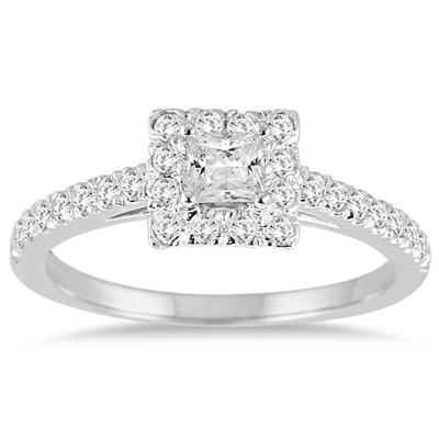3/4 Carat TW Princess Cut Diamond Engagement Ring in 14K White Gold