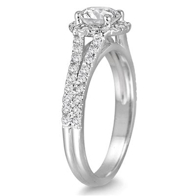AGS Certified 1 1/4 Carat TW Diamond Split Shank Halo Engagement Ring in 14K White Gold (J-K Color, I2-I3 Clarity)
