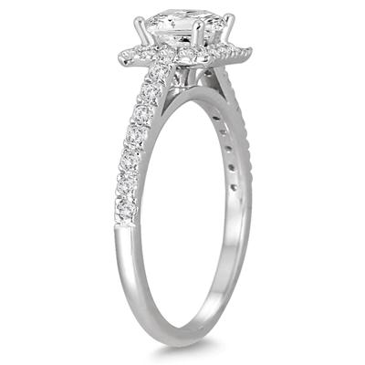 1 Carat TW Princess Cut Diamond Halo Engagement Ring in 14K White Gold