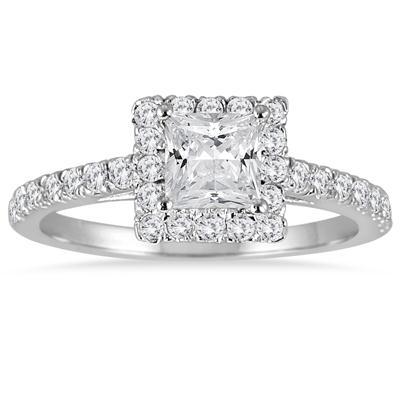 1 Carat TW Princess Cut Diamond Halo Engagement Ring in 14K White Gold
