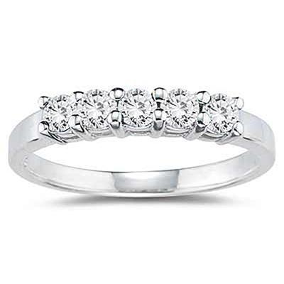 1/2 Carat TW 5 Stone White Diamond Ring in 10K White Gold