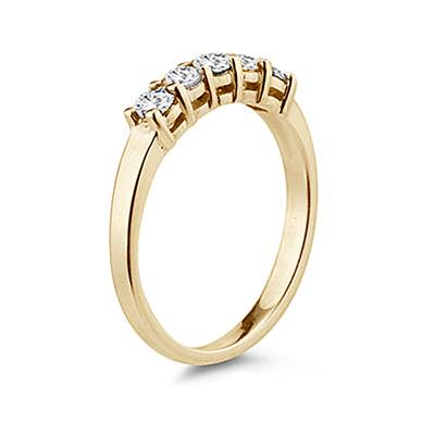 1/2 Carat TW 5 Stone White Diamond Ring in 10K Yellow Gold