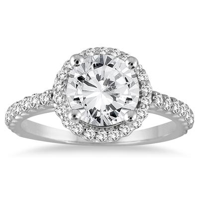 AGS Certified 1 1/8 Carat TW Halo Diamond Engagement Ring in 14K White Gold (J-K Color, I2-I3 Clarity)