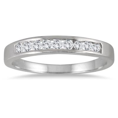 1/4 Carat Channel Set Diamond Band in .925 Sterling Silver
