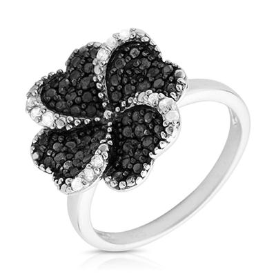 1/3 Carat Black and White Diamond Ring in .925 Sterling Silver
