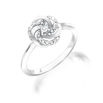 Diamond Infinity Knot Ring in .925 Sterling Silver