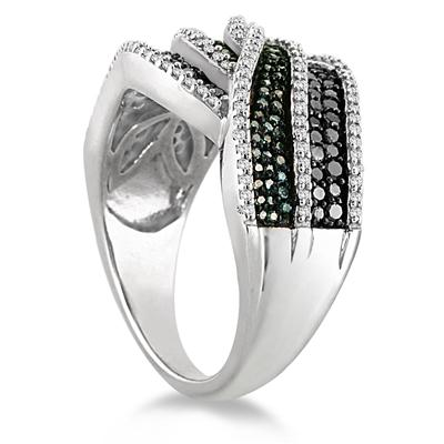 3/4 Carat TW White Black and Blue Diamond Ring in .925 Sterling Silver