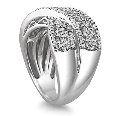 1/2 Carat Genuine White Diamond Antique Ring in .925 Sterling Silver