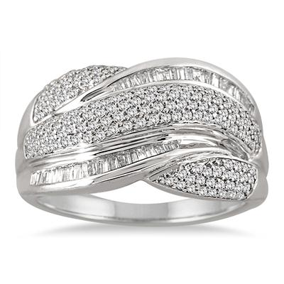 3/4 Carat Pave Set Round and Baguette Diamond Cocktail Ring in .925 Sterling Silver