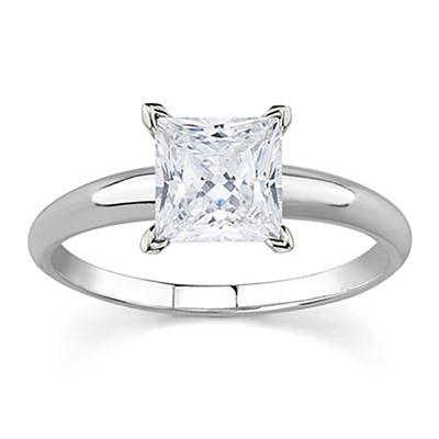 AGS Certified 3/4 Carat Princess Diamond Solitaire Ring in 14K White Gold (J-K Color, I2-I3 Clarity)