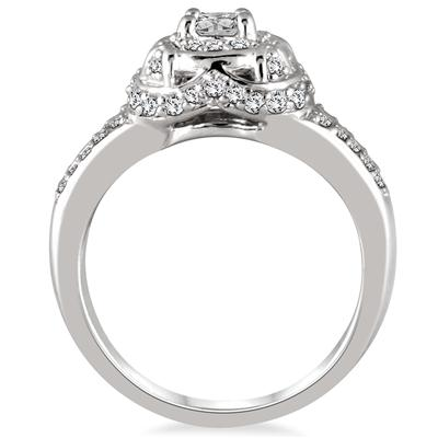 1/2 Carat TW Diamond Halo Antique Ring in 10K White Gold
