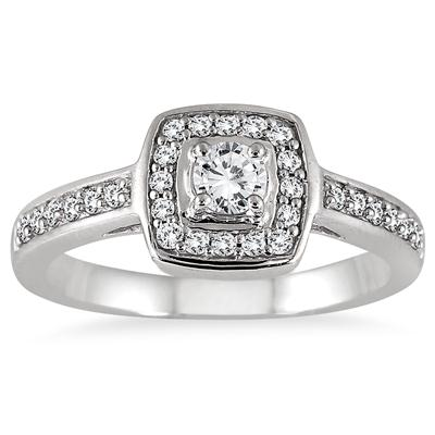 1/2 Carat TW Diamond Halo Ring in 10K White Gold