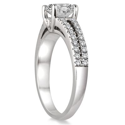 1 1/3 Carat TW Diamond Split Shank Engagement Ring in 14K White Gold