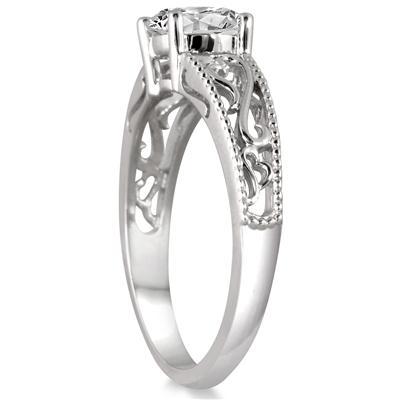 1 Carat Diamond Antique Engraved Ring in 14K White Gold
