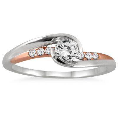 1/3 Carat TW Diamond Ring in Two Tone 10K Gold