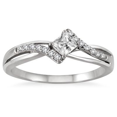 1/3 Carat TW Princess Cut Diamond Engagement Ring in 10K White Gold