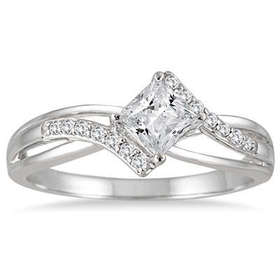 1/2 Carat TW Princess Cut Diamond Engagement Ring in 10K White Gold