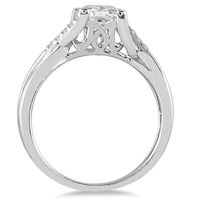 7/8 Carat TW Princess Cut Diamond Engagement Ring in 14K White Gold