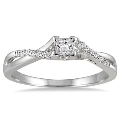 1/3 Carat TW Princess Cut Diamond Engagement Ring in 10K White Gold (K-L Color, I2-I3 Clarity)