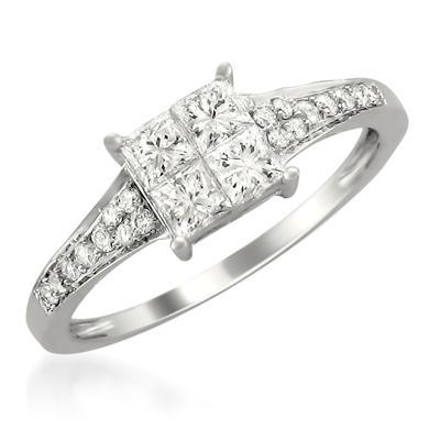 3/4 Carat Princess Cut Diamond Engagement Ring in 14K White Gold
