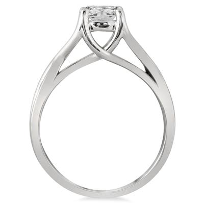AGS Certified 1 Carat Diamond Solitaire Twist Engagement Ring in 14K White Gold (J-K Color, I2-I3 Clarity)