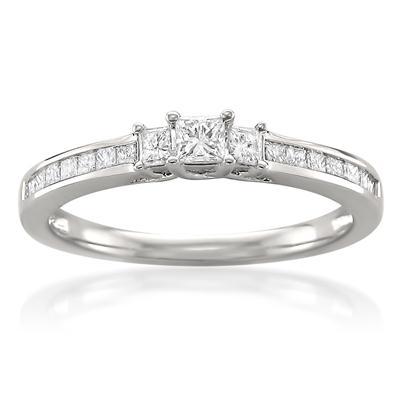 1/2 Carat Princess Cut Diamond Three Stone Ring in 14K White Gold