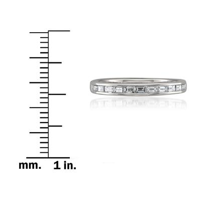 1/2 Channel Set Baguette Diamond Band in 14K White Gold