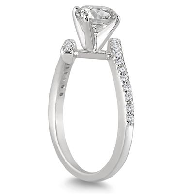 AGS Certified 1 Carat TW Diamond Engagement Ring in 14K White Gold (J-K Color, I2-I3 Clarity)