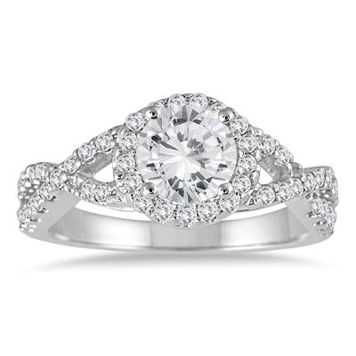 AGS Certified 1 1/2 Carat TW Twisted Split Shank Halo Engagement Ring in 14K White Gold (J-K Color, I2-I3 Clarity)