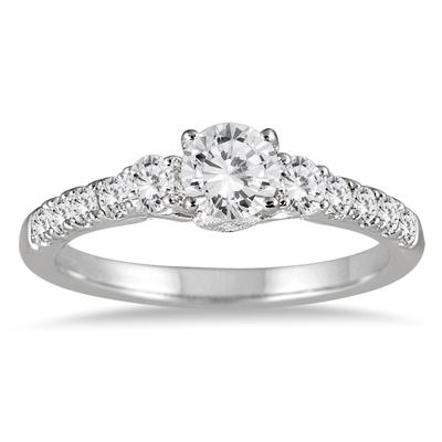 1 Carat TW Three Stone Diamond Engagement Ring in 14K White Gold