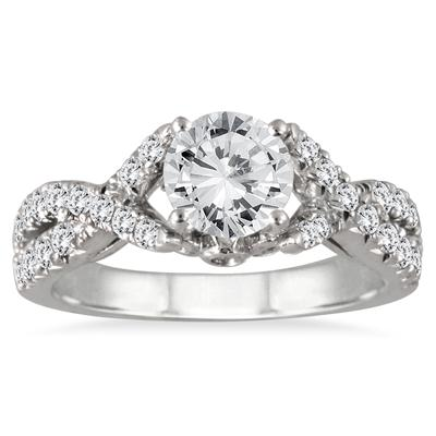 AGS Certified 1 1/2 Carat TW Twisted Split Shank Diamond Engagement Ring in 14K White Gold (H-I Color, I1-I2 Clarity)