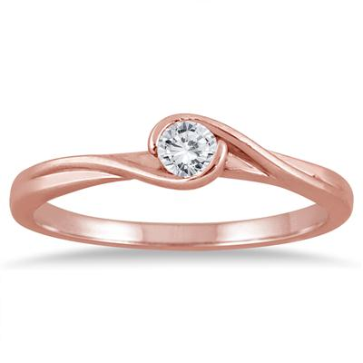 1/6 Carat Diamond Solitaire Twist Ring in 10K Rose Gold