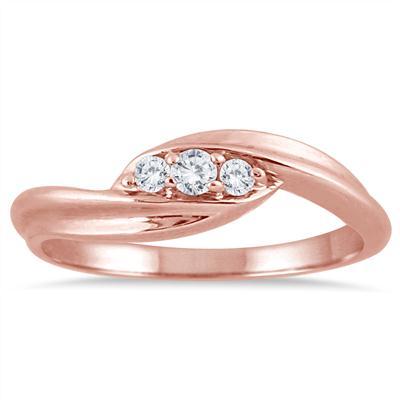 1/8 Carat TW Diamond Three Stone Ring in 10K Rose Gold
