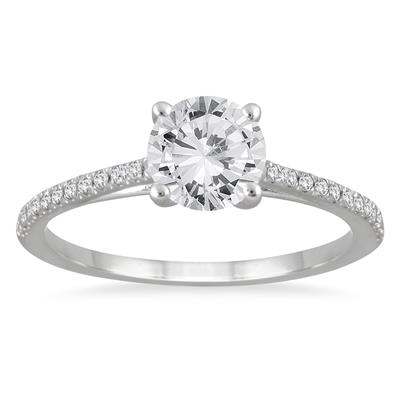 AGS Certified 1 1/10 Carat TW Cathedral Engagement Ring in 14K White Gold (J-K Color, I2-I3 Clarity)