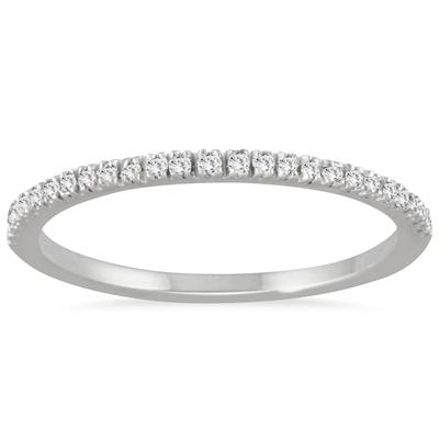 1/6 Carat TW Thin Diamond Wedding Band in 14K White Gold