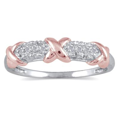 1/10 Carat Diamond Hugs and Kisses Two Tone Ring in .925 Sterling Silver