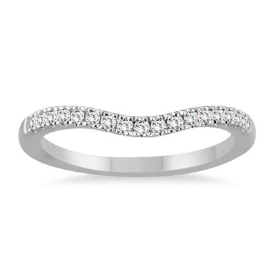 1/8 Carat TW Diamond Curved Wedding Band in 14K White Gold