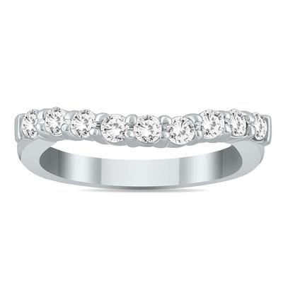 1/2 Carat TW Diamond Curve Wedding Band in 10K White Gold