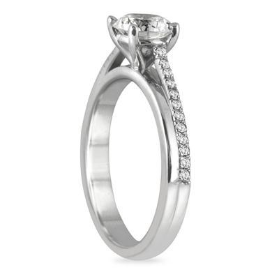 7/8 Carat TW Princess Diamond Engagement Ring in 14K White Gold