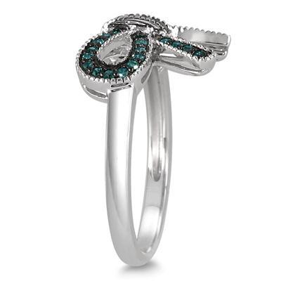 1/4 Carat Blue Diamond Ribbon Ring in .925 Sterling Silver