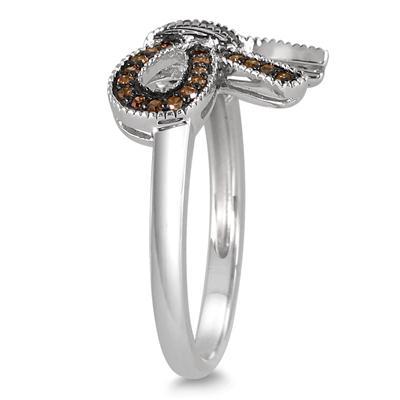 1/4 Carat Champagne Diamond Ribbon Ring in .925 Sterling Silver