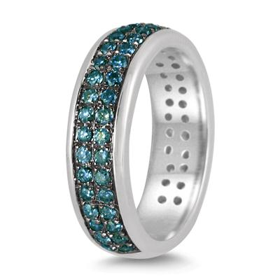 1 Carat Blue Diamond Band in .925 Sterling Silver