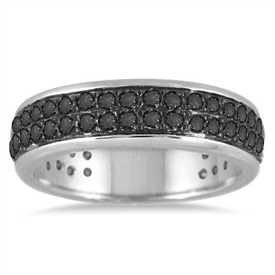 1 Carat Black Diamond Band in .925 Sterling Silver