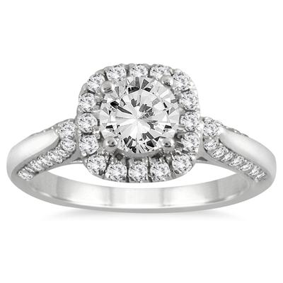 AGS Certified 1 1/4 Carat TW Diamond Halo Engagement Ring in 14K White Gold (J-K Color, I2-I3 Clarity)