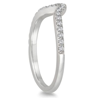 1/6 Carat TW Curved Diamond Wedding Band in 14K White Gold