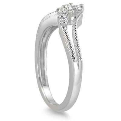 1/4 Carat TW Diamond Journey Ring in 10K White Gold