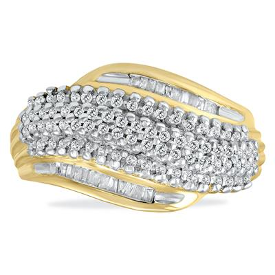 1/2 Carat Baguette Diamond Ring In Yellow Plated .925 Sterling Silver