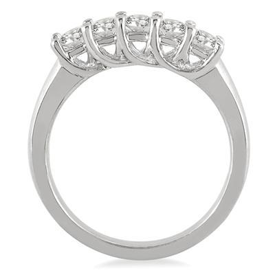 3/4 Carat TW Five Stone Diamond Wedding Band in 10K White Gold