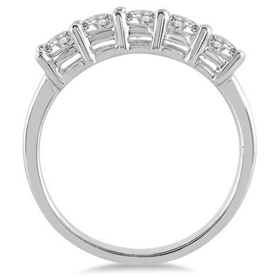 1 Carat TW Five Stone Wedding Band in 14K White Gold